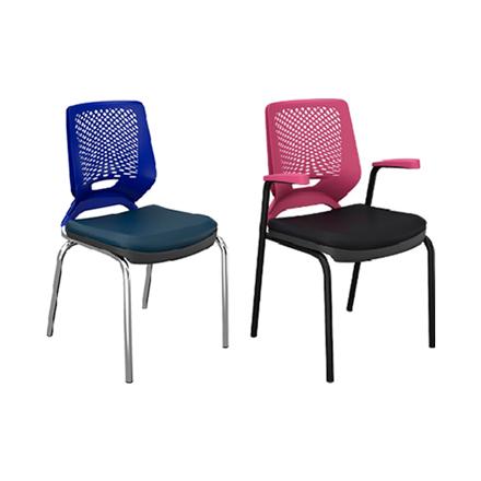 Cadeira Fixa com base preta ou Cromada
