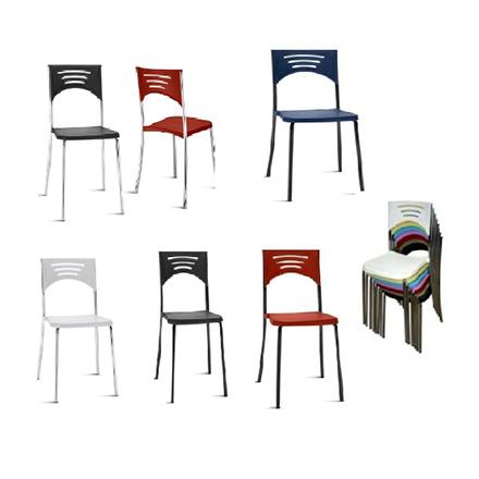 Cadeiras fixa com Base Preta ou Cromada, Empilhaveis